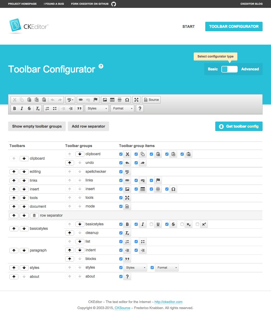 CKEditor 4.5 toolbar configurator