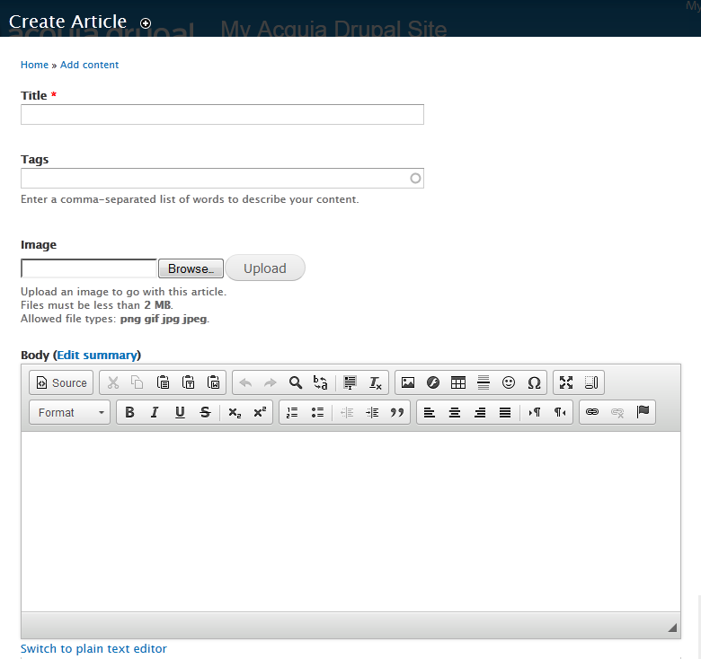 Adding an article using CKEditor.