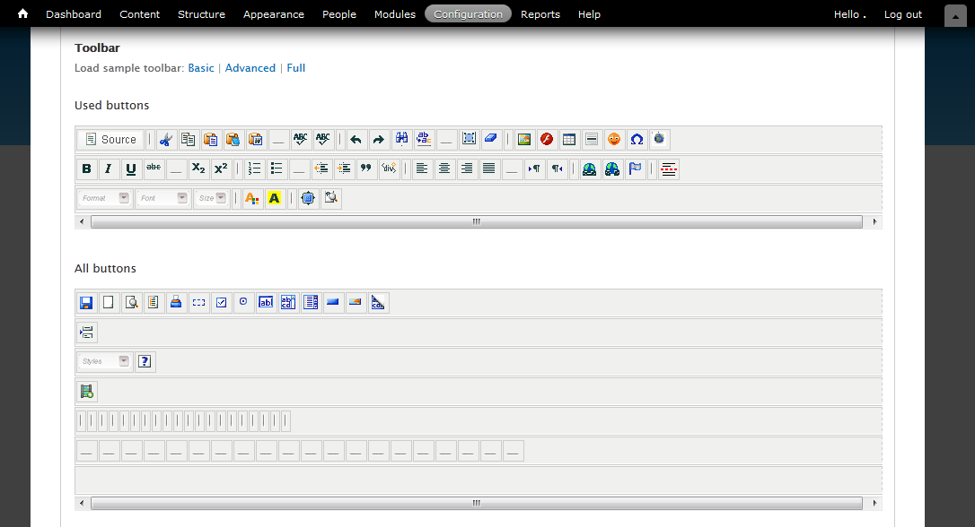 The administration panel allows to easily modify various CKEditor setttings, including user interface.