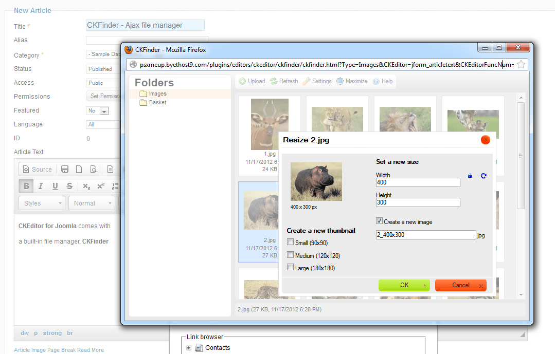 CKFinder allows you to resize images as well as copy/move/rename/delete all files.
