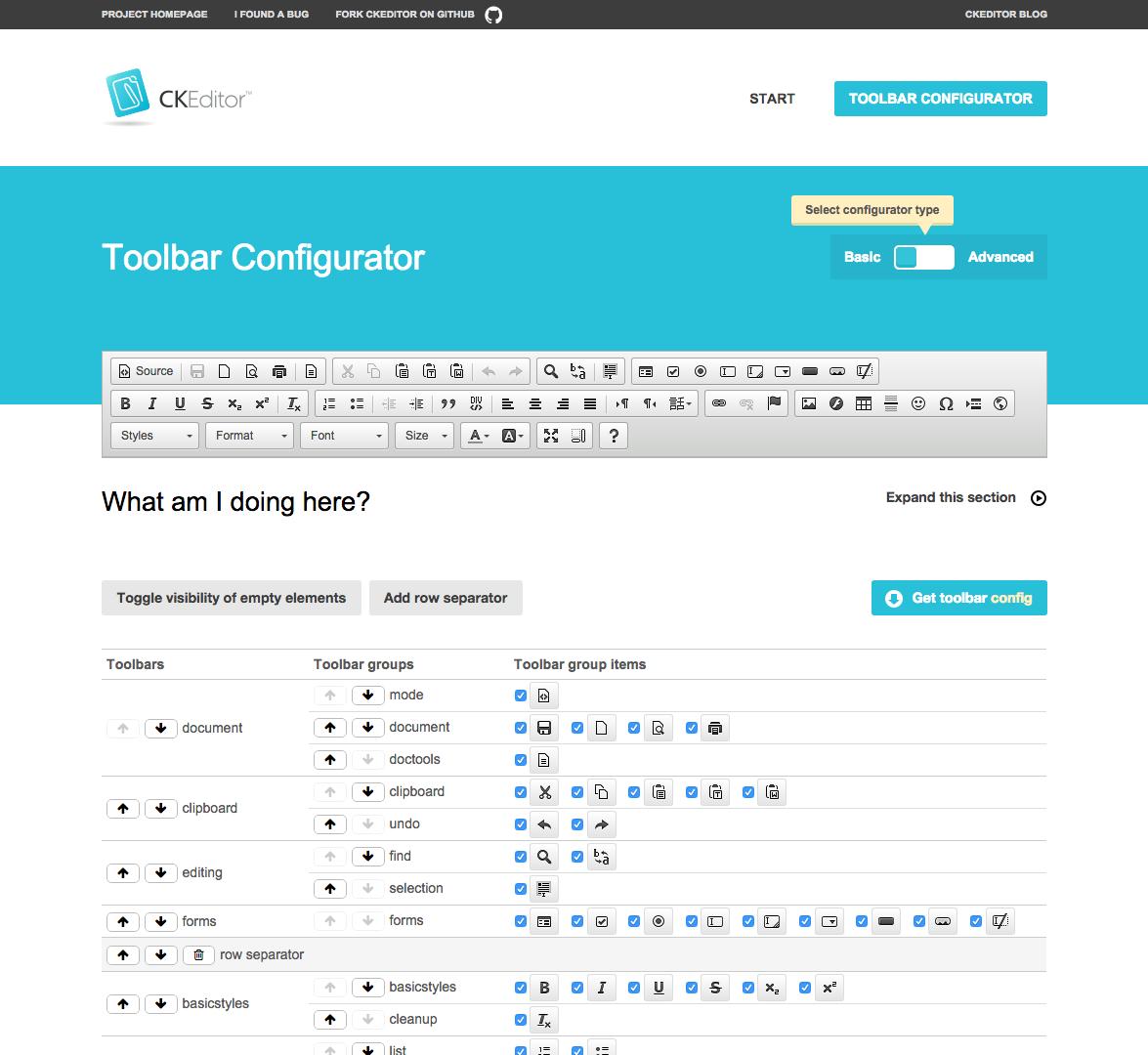 New CKEditor toolbar configurator